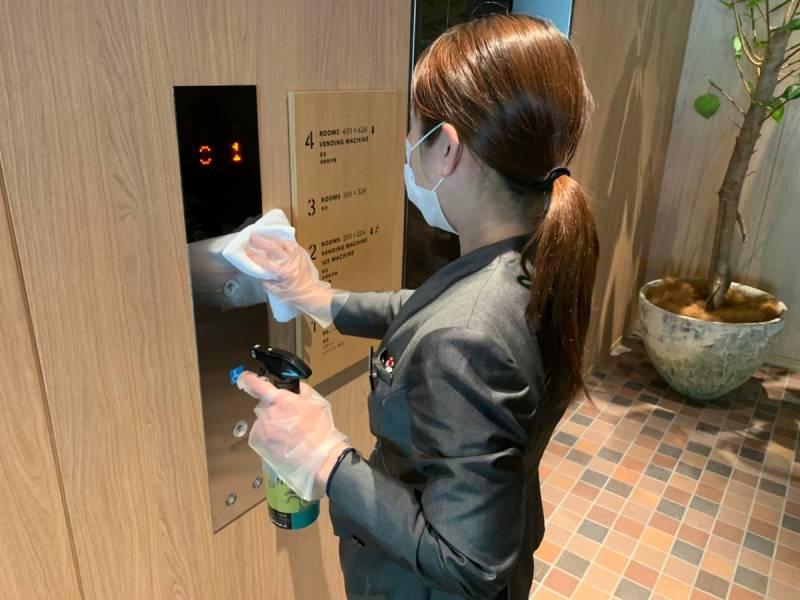 エレベーターボタン拭き